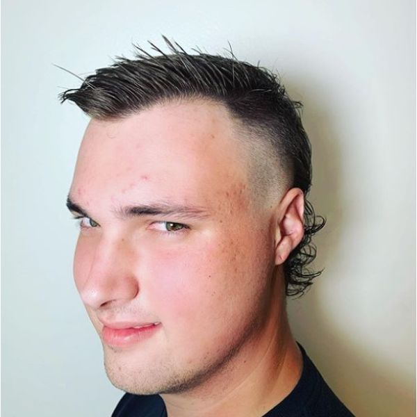 Short Razor Fade Mullet Hairstyles For Men With Straight Hair