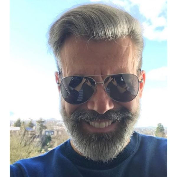 Silver Fox Hairstyle with Side-swept Hairstyle silver grey hair men