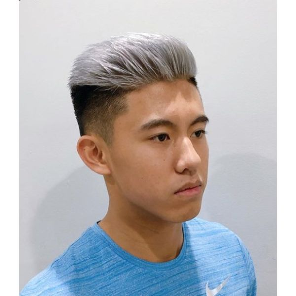 Silver Gray Hairstyle with Dark Shaved Sides silver grey hair men