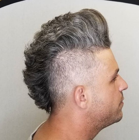 Silver Grey Mullet Mohawk Hairstyle