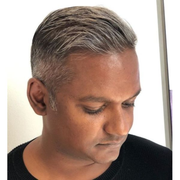 Silver Highlights with Gray Hairstyle