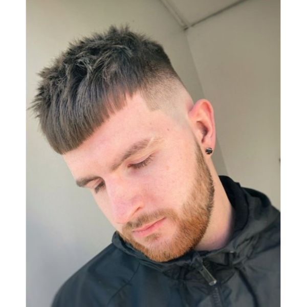 Skin Fade with Caesar Cut Hairstyles For Men With Straight Hair