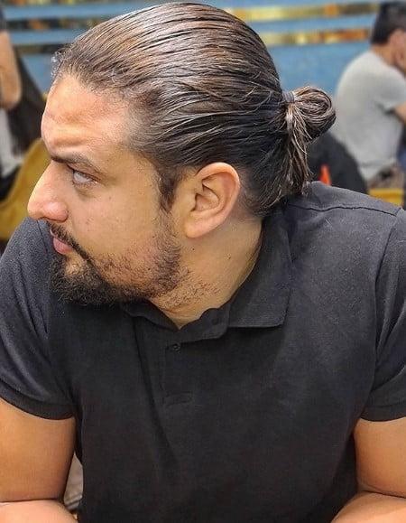 Sleek Fine Man Bun Hairstyle