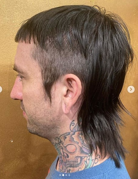 Sleek Mullet with Baby Bangs Hairstyle punk hairstyles for guys