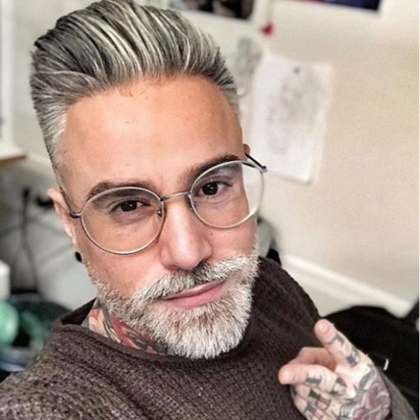 Slick Back Hairstyle For Silver Grey Hairstyle