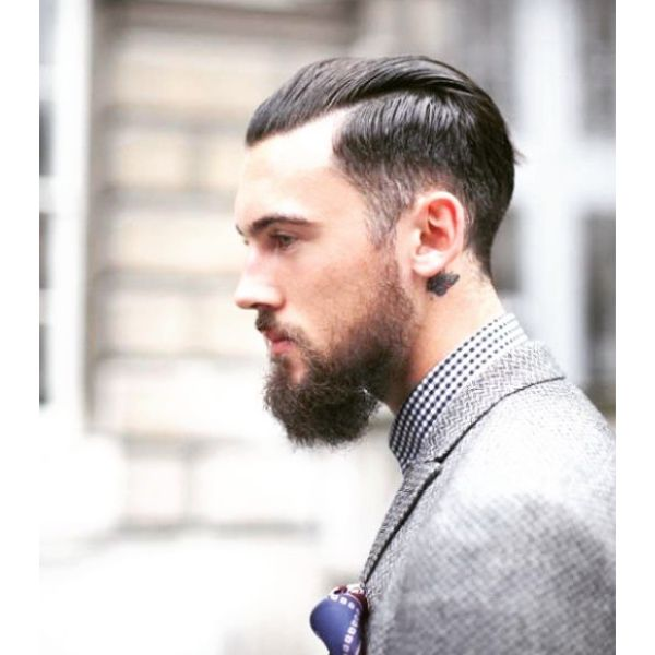 Slick-Back Hairstyle with Shaved Sides