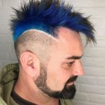 Spiky Mohawk with Dark Blue Strands and Faded Sides