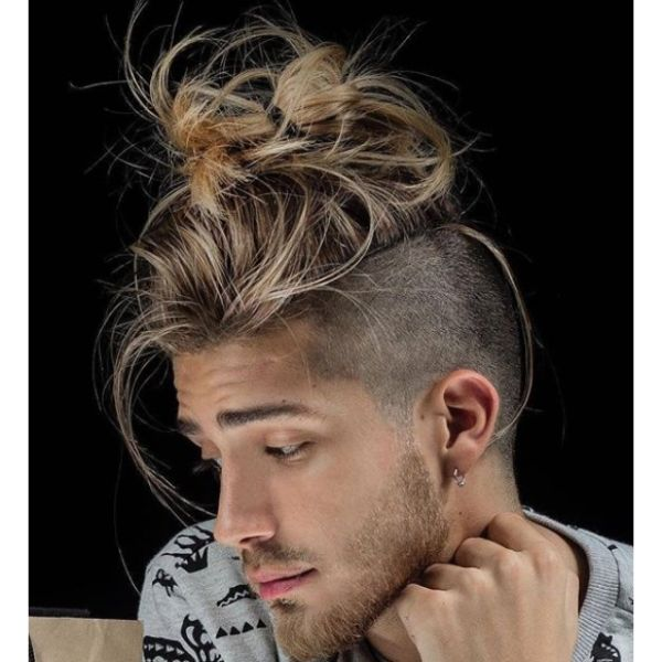 Super Messy Man Bun with Falling Strands