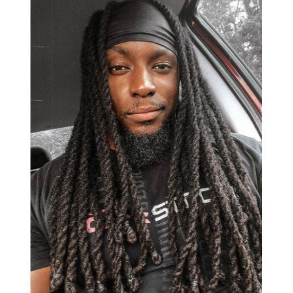 Thick Rope-like Dreadlocks with Headband dreadlock styles for men
