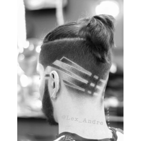 Undercut Hairstyle with Top Knot and Zig Zag Shaped Side Design Man Bun Hairstyles