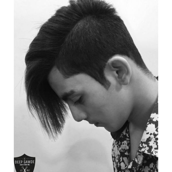 Undercut Medium Hairstyle For Men With Straight Hair