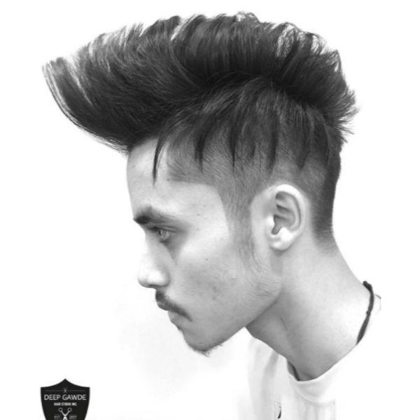 Undercut with Spiky Top Haircut For Straight Hair