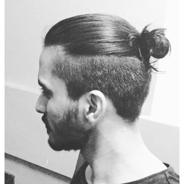 Undercut with Top Knot Hairstyle