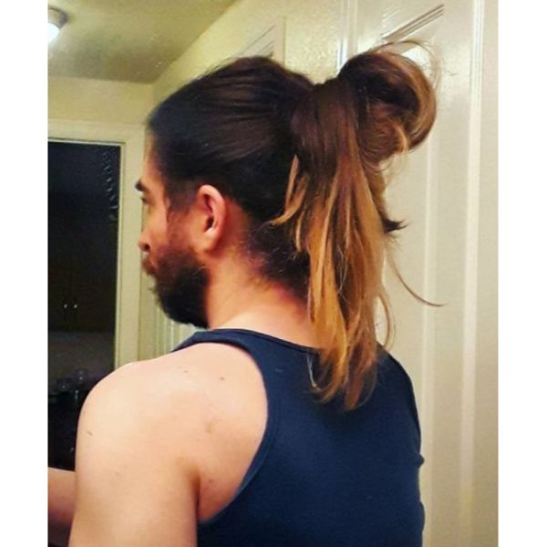 Undone Man Bun For Brown Hair with Blonde Highlights