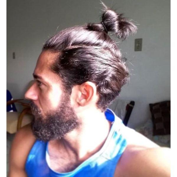 Undone Man Bun with Top Knot Man Bun Hairstyles