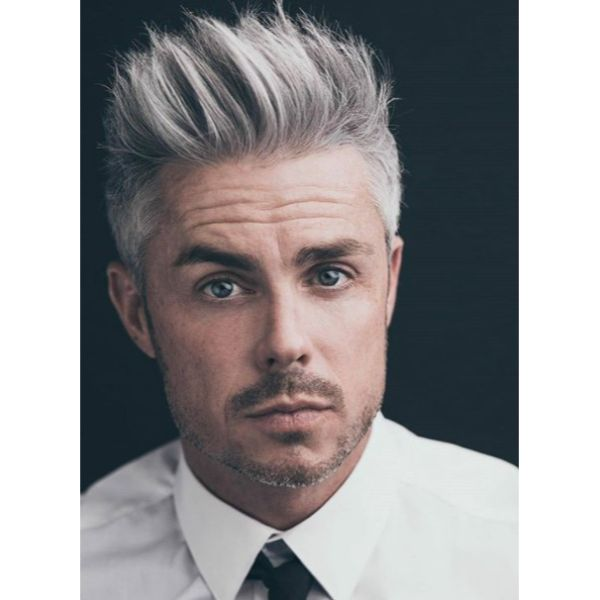 Up-swept Gray Hairstyle silver grey hair men