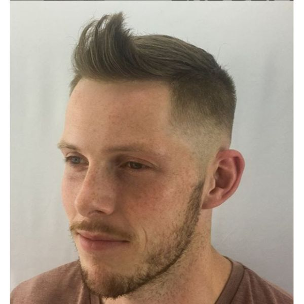Up-swept High Fade with Skin Fade