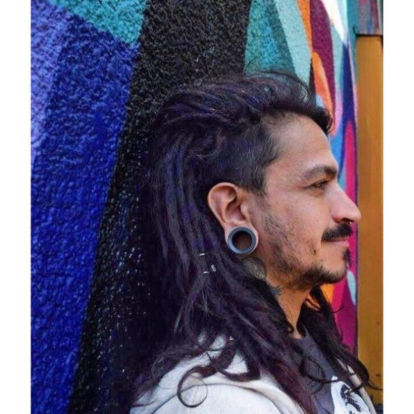 Violet Colored Long Dreadlocks dreadlock styles for men