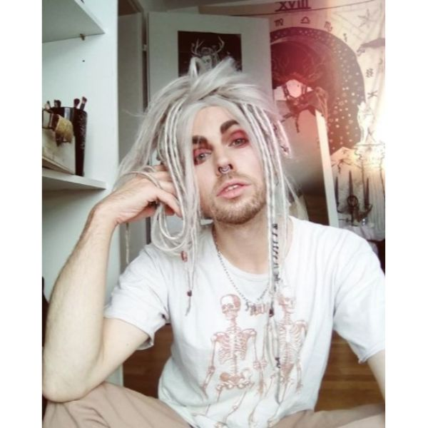 White Colored Emo Dreadlock Styles For Men dreadlock styles for men