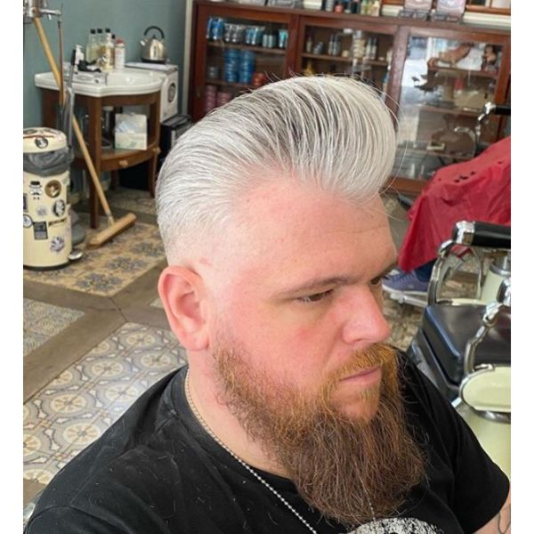 White Pompadour with Bald Fade Hairstyle For Men With Straight Hair