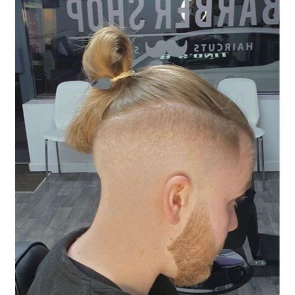 Zero Fade with Smooth Top Knot Man Bun Hairstyles