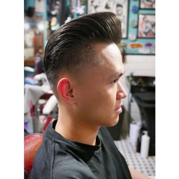 Angled Pompadour Haircut with Skin Fade