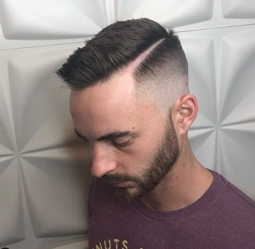 Bald Fade with Hard Part