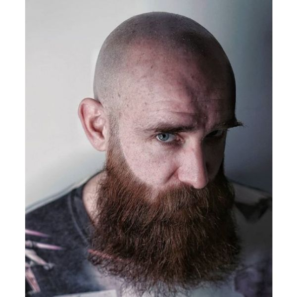 Bald Fade with Long Beard Hairstyle For Men with Receding Hairline