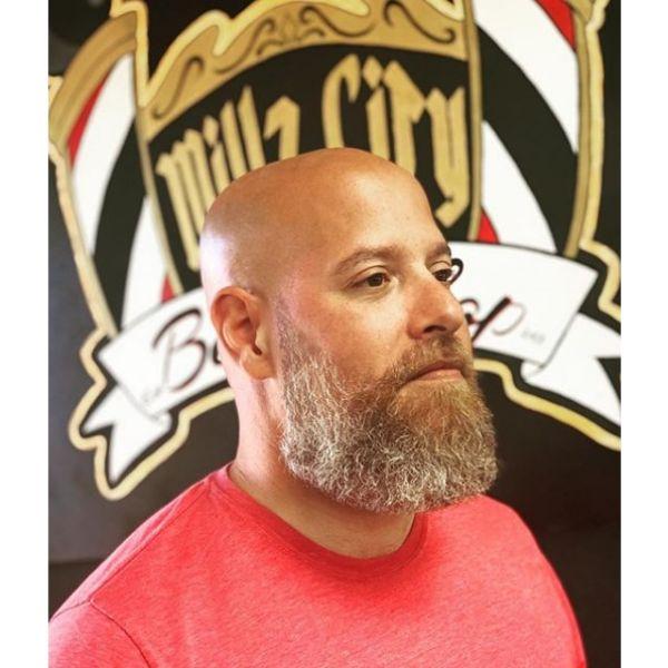 Bald Fade with Long Bushy Beard