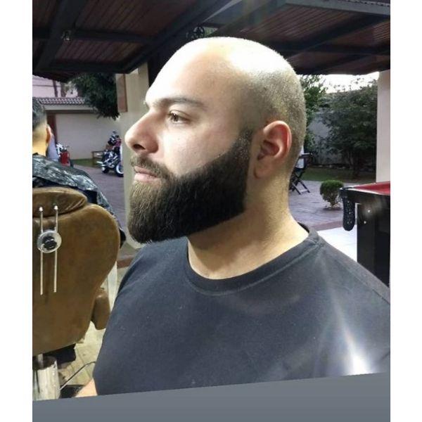 Bald Fade with Straight Beard