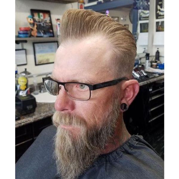 Blonde Colored Haircut With Long Beard Hairstyle 1950s mens hairstyles