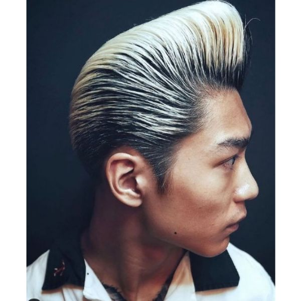 Blonde Colored Pompadour with Long Sideburns
