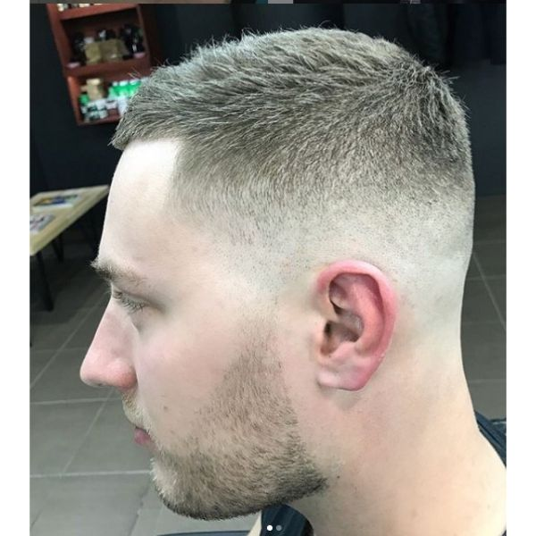 Blonde Short Textured Caesar Cut