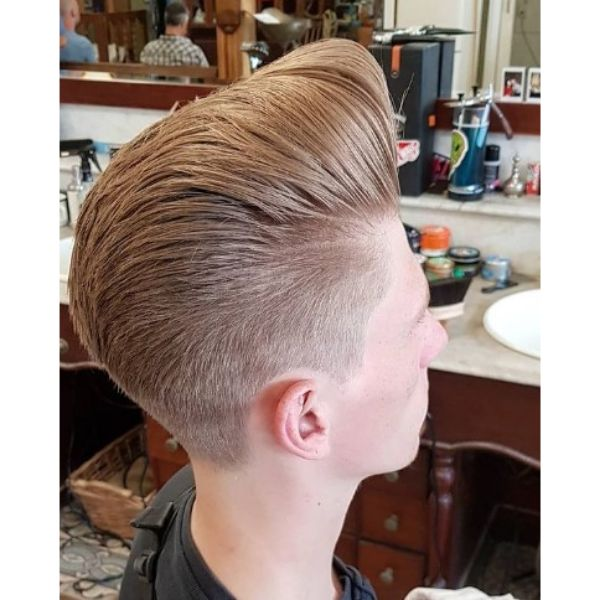 Blonde Silky 1950's Pompadour with Skin Fade