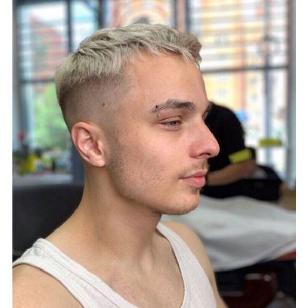Blonde Skin Fade Caesar Hairstyle