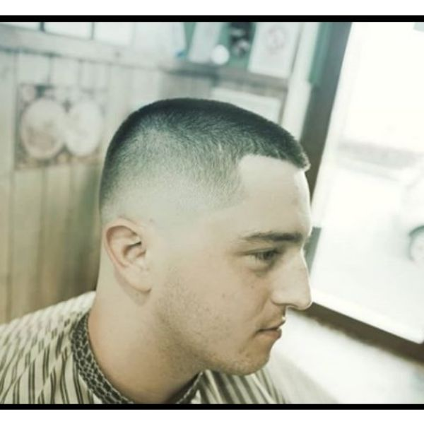 Buzz Cut Hairstyle with Faded Sides