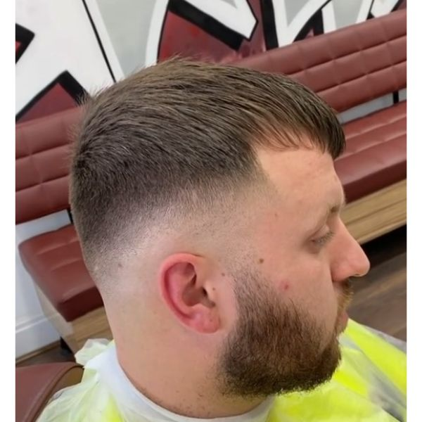 Caesar Cut Hairstyle with Skin Fade Hairstyles For Men With Receding Hairlines