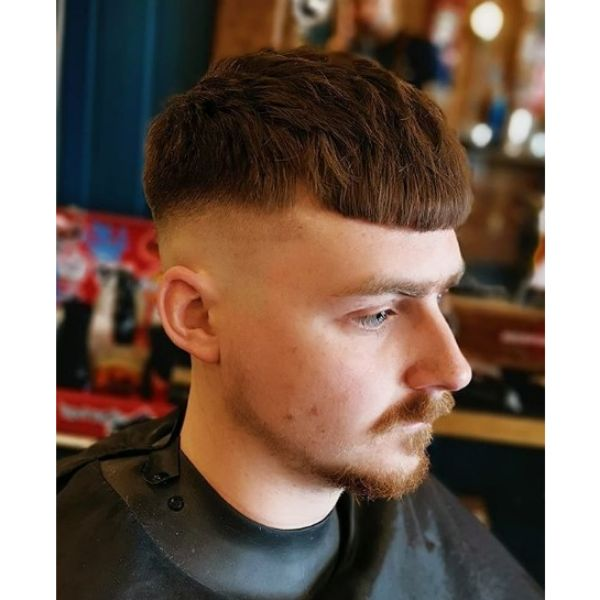 Caesar Cut With Blunt Fringe