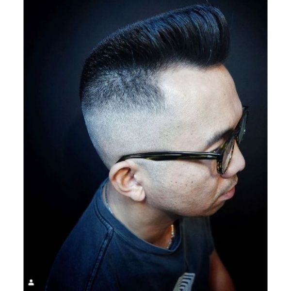 Classic Pompadour Flattop with Faded Sides 1950s mens hairstyles