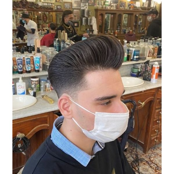 Classic Pompadour with Skin Fade Haircut 1950s mens hairstyles