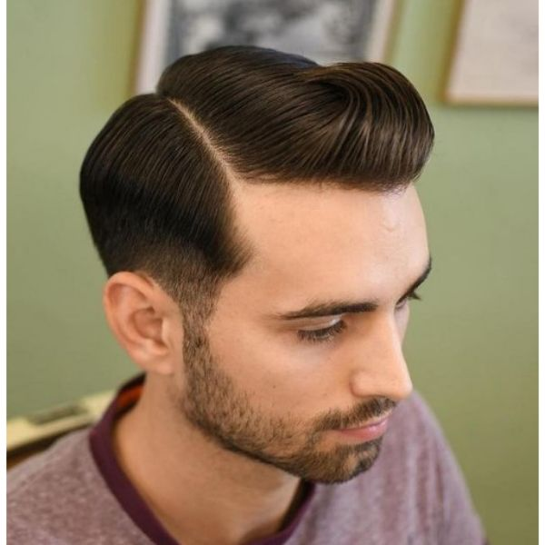 Classic Side Part With Slick Back Top 1950s mens hairstyles
