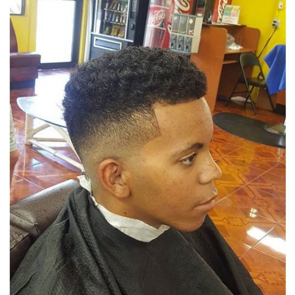 Clean Blurry Fade with Curly Top