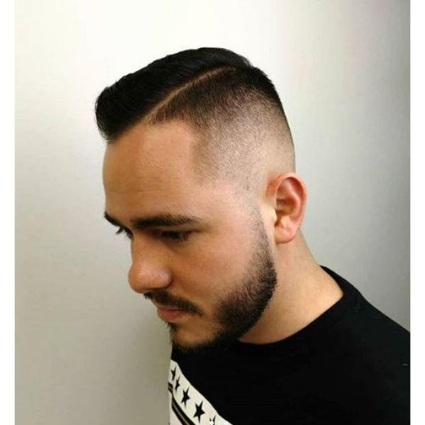 Clean Fade with Deep Side Part