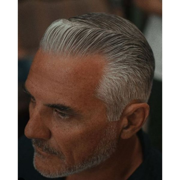 Clean Silver Grey Pompadour Hairstyle