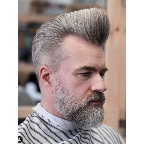 Clipper Over Comb Pompadour with Beard
