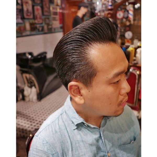 Fade Haircut with Pomp Hairstyle 1950s mens hairstyles