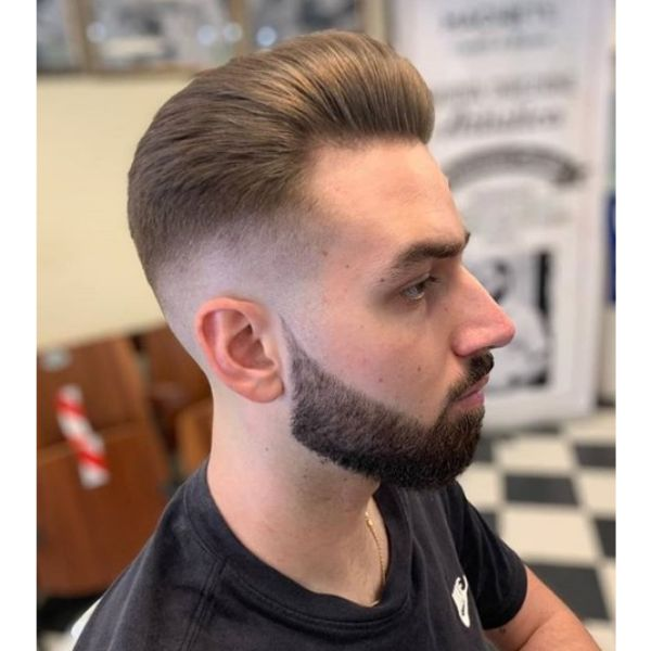 Finely Trimmed Pompadour with Skin Fade