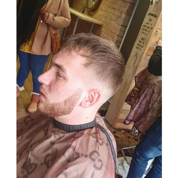 Fringy Caesar Cut Hairstyle with Low Fade