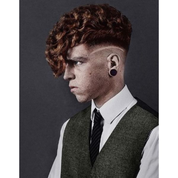 Ginger Colored Faux Hawk with Side Razor Design 1950s mens hairstyles