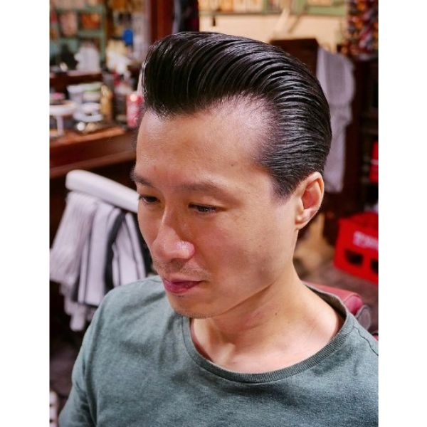 Greasy Slick Back Hairstyle with Receding Hairline 1950s mens hairstyles
